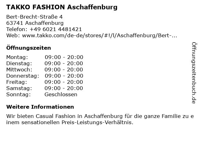 Takko Fashion in Aschaffenburg: Adresse und Öffnungszeiten