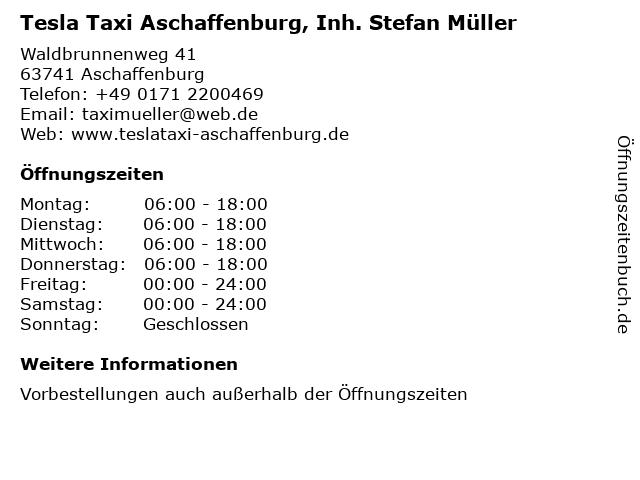 Tesla Taxi Aschaffenburg, Inh. Stefan Müller in Aschaffenburg: Adresse und Öffnungszeiten