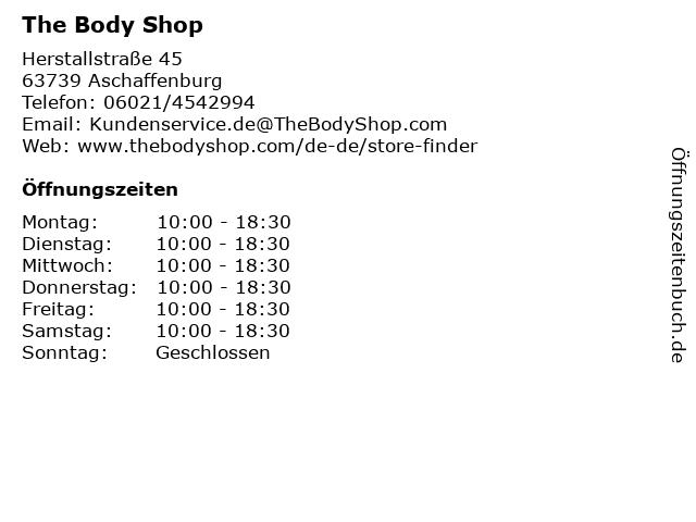 The Body Shop in Aschaffenburg: Adresse und Öffnungszeiten