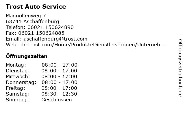 Trost Auto Service in Aschaffenburg: Adresse und Öffnungszeiten