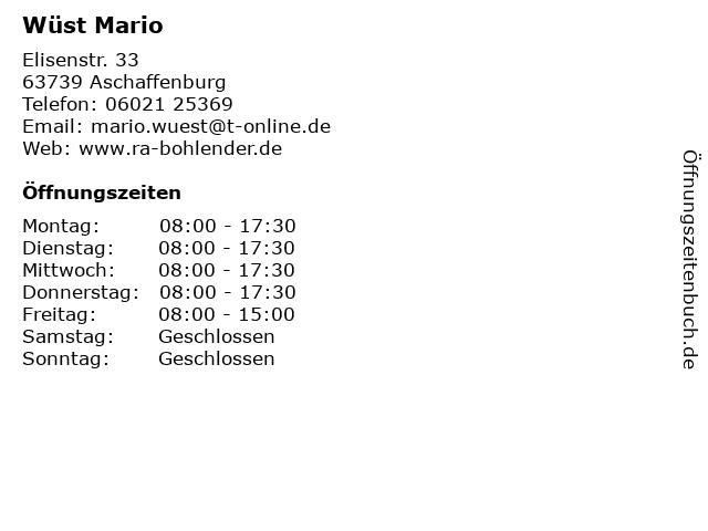Wüst Mario in Aschaffenburg: Adresse und Öffnungszeiten