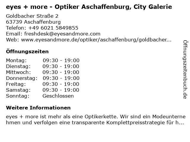 eyes + more Optikgeschäft in Aschaffenburg: Adresse und Öffnungszeiten
