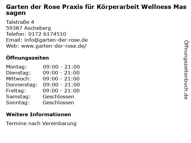 Garten der Rose Praxis für Körperarbeit Wellness Massagen in Ascheberg: Adresse und Öffnungszeiten