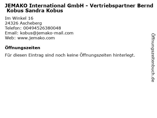 JEMAKO International GmbH - Vertriebspartner Bernd Kobus Sandra Kobus in Ascheberg: Adresse und Öffnungszeiten