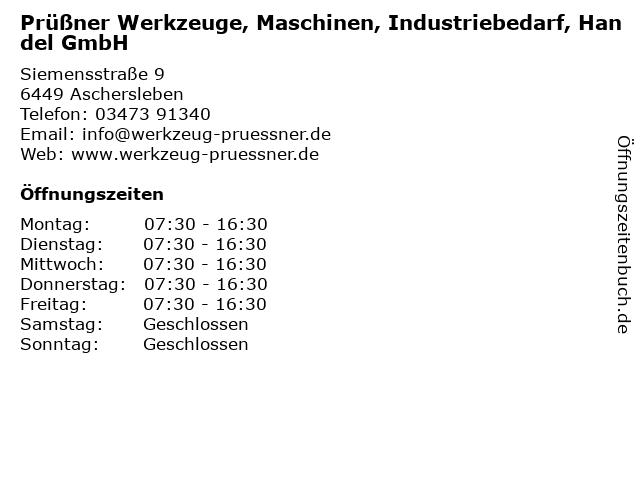 Prüßner Werkzeuge, Maschinen, Industriebedarf, Handel GmbH in Aschersleben: Adresse und Öffnungszeiten