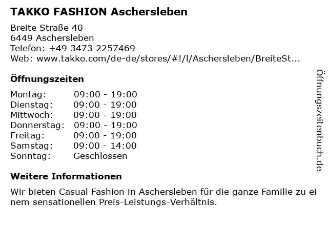 Takko Fashion in Aschersleben: Adresse und Öffnungszeiten