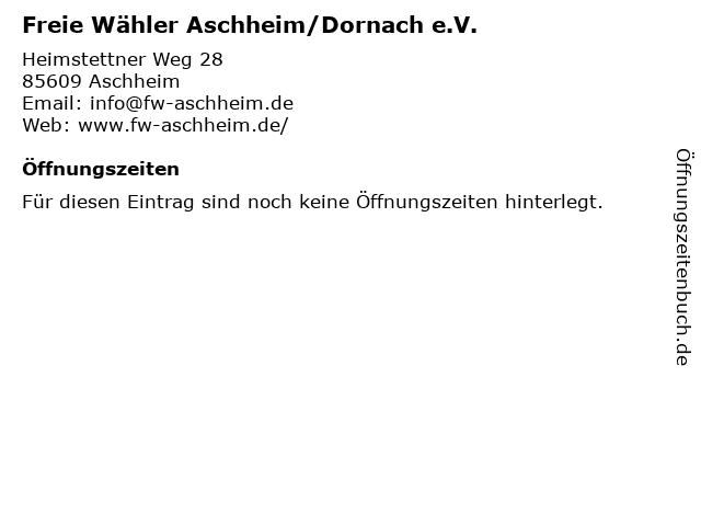 Freie Wähler Aschheim/Dornach e.V. in Aschheim: Adresse und Öffnungszeiten