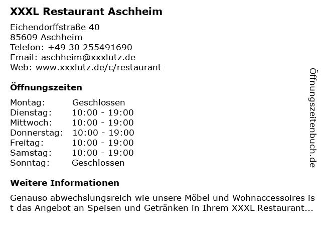 ᐅ öffnungszeiten Xxxl Restaurant Aschheim Eichendorffstraße 40