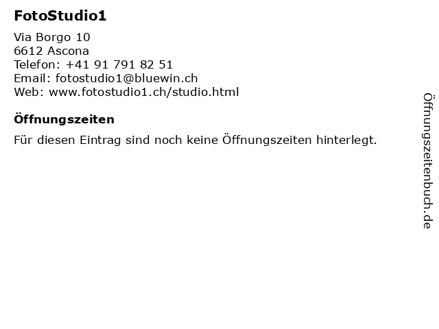 FotoStudio1 in Ascona: Adresse und Öffnungszeiten