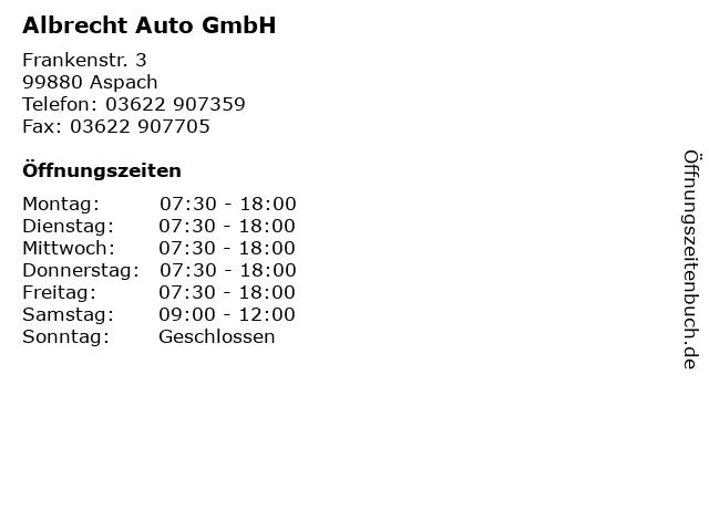 Albrecht Auto GmbH in Aspach: Adresse und Öffnungszeiten