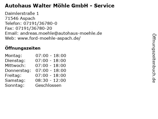 Autohaus Walter Möhle GmbH - Service in Aspach: Adresse und Öffnungszeiten