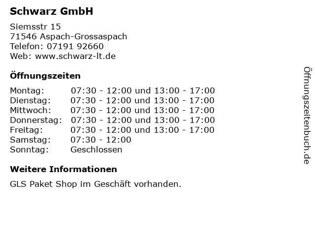 Schwarz GmbH in Aspach-Grossaspach: Adresse und Öffnungszeiten