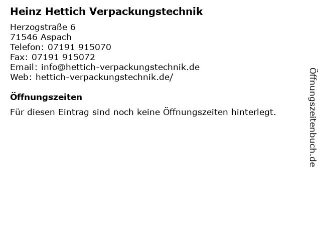 Heinz Hettich Verpackungstechnik in Aspach: Adresse und Öffnungszeiten