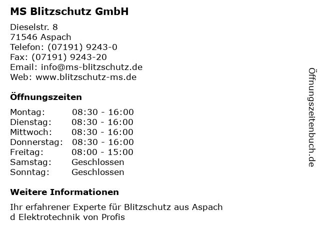 MS Blitzschutz GmbH in Aspach: Adresse und Öffnungszeiten