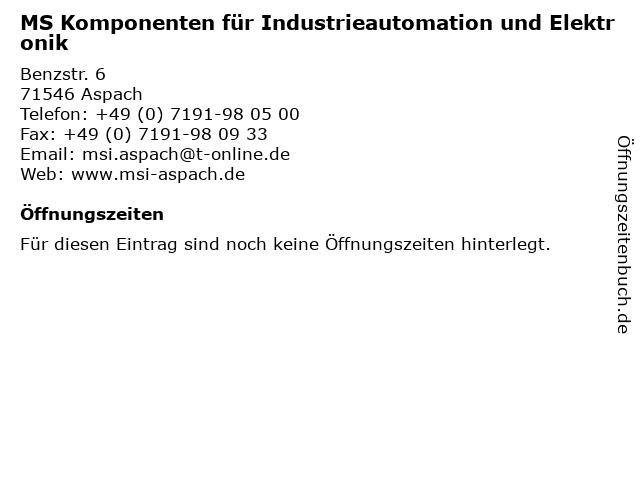 MS Komponenten für Industrieautomation und Elektronik in Aspach: Adresse und Öffnungszeiten