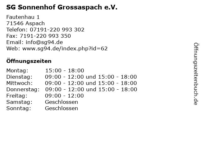 SG Sonnenhof Grossaspach e.V. in Aspach: Adresse und Öffnungszeiten