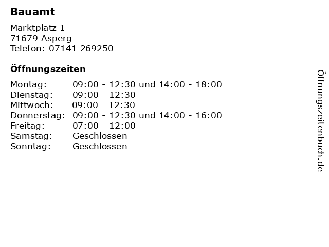 Bauamt in Asperg: Adresse und Öffnungszeiten