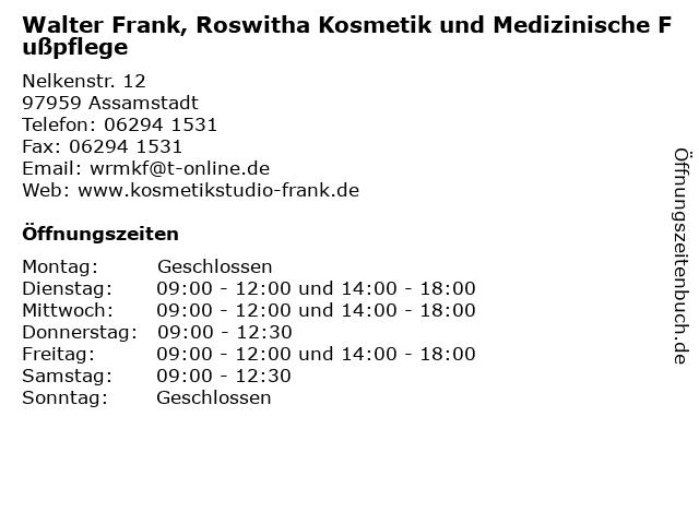 Walter Frank, Roswitha Kosmetik und Medizinische Fußpflege in Assamstadt: Adresse und Öffnungszeiten