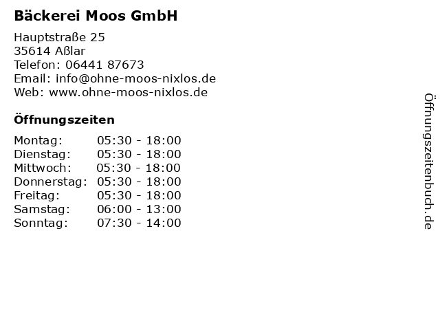 Bäckerei Moos GmbH in Aßlar: Adresse und Öffnungszeiten