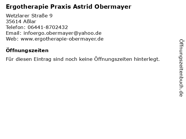 Ergotherapie Praxis Astrid Obermayer in Aßlar: Adresse und Öffnungszeiten