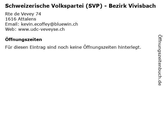 Schweizerische Volkspartei (SVP) - Bezirk Vivisbach in Attalens: Adresse und Öffnungszeiten