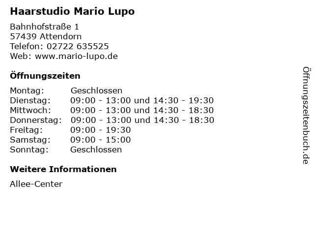 Haarstudio Mario Lupo in Attendorn: Adresse und Öffnungszeiten