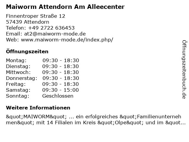 MAIWORM Young Fashion in Attendorn: Adresse und Öffnungszeiten