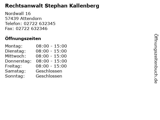 Rechtsanwalt Stephan Kallenberg in Attendorn: Adresse und Öffnungszeiten