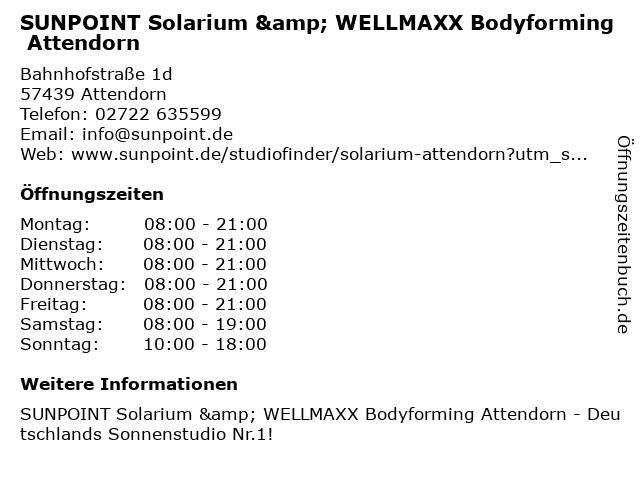 SUNPOINT Solarium & WELLMAXX Bodyforming Attendorn in Attendorn: Adresse und Öffnungszeiten