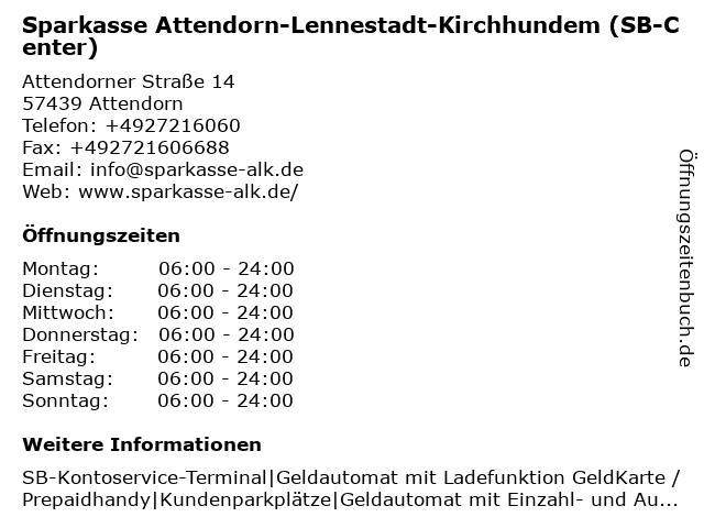 Sparkasse Attendorn-Lennestadt-Kirchhundem - Geschäftsstelle Ennest in Attendorn: Adresse und Öffnungszeiten