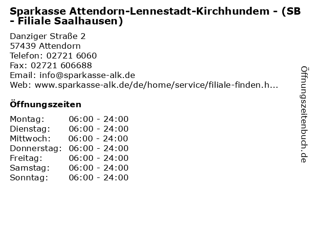 Sparkasse Attendorn-Lennestadt-Kirchhundem - (SB- Filiale Saalhausen) in Attendorn: Adresse und Öffnungszeiten