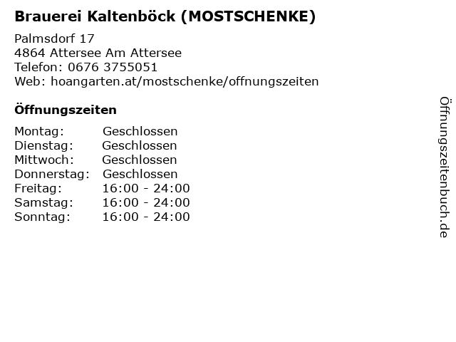 Brauerei Kaltenböck (MOSTSCHENKE) in Attersee Am Attersee: Adresse und Öffnungszeiten