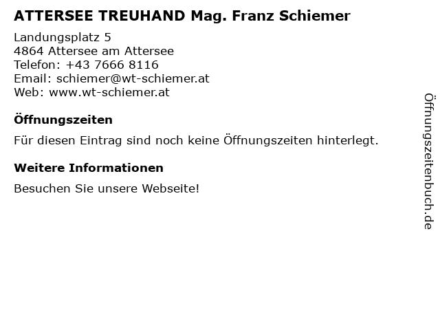 ATTERSEE TREUHAND Mag. Franz Schiemer in Attersee am Attersee: Adresse und Öffnungszeiten
