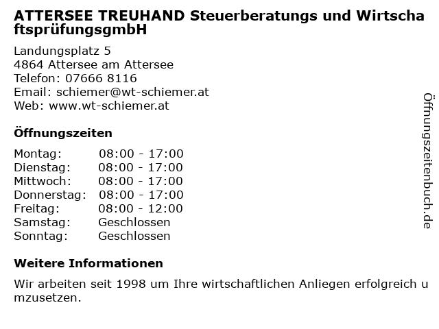 ATTERSEE TREUHAND Steuerberatungs und WirtschaftsprüfungsgmbH in Attersee am Attersee: Adresse und Öffnungszeiten