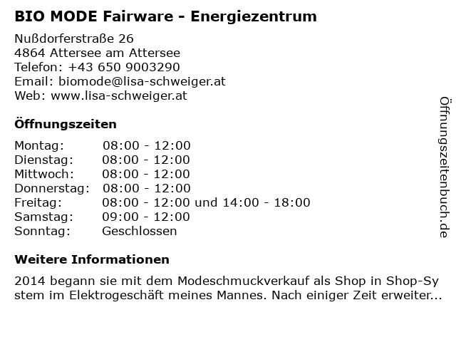 BIO MODE Fairware - Energiezentrum in Attersee am Attersee: Adresse und Öffnungszeiten