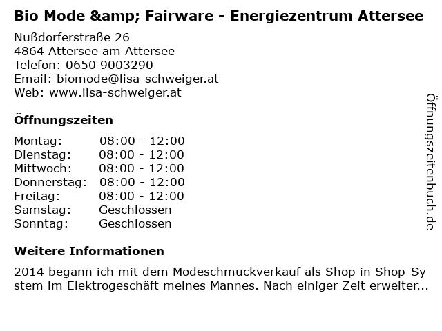 Bio Mode & Fairware - Energiezentrum Attersee in Attersee am Attersee: Adresse und Öffnungszeiten