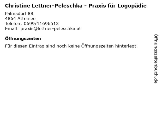 Christine Lettner-Peleschka - Praxis für Logopädie in Attersee: Adresse und Öffnungszeiten