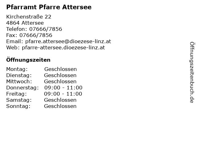 Pfarramt Pfarre Attersee in Attersee: Adresse und Öffnungszeiten
