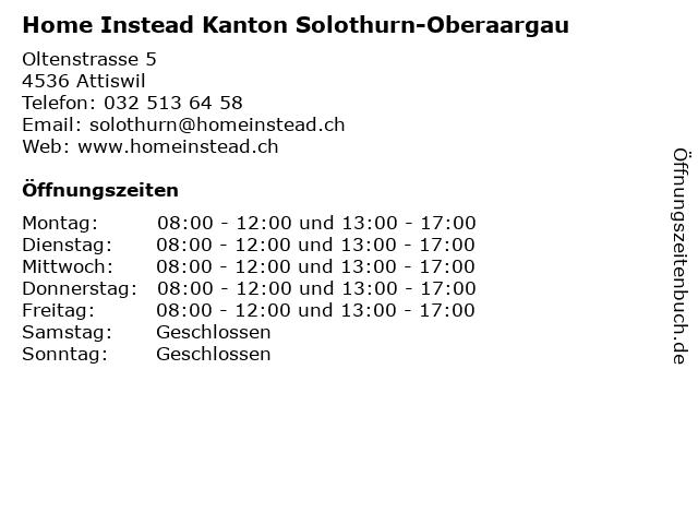 """ᐅ Öffnungszeiten """"Home Instead Kanton Solothurn-Oberaargau"""