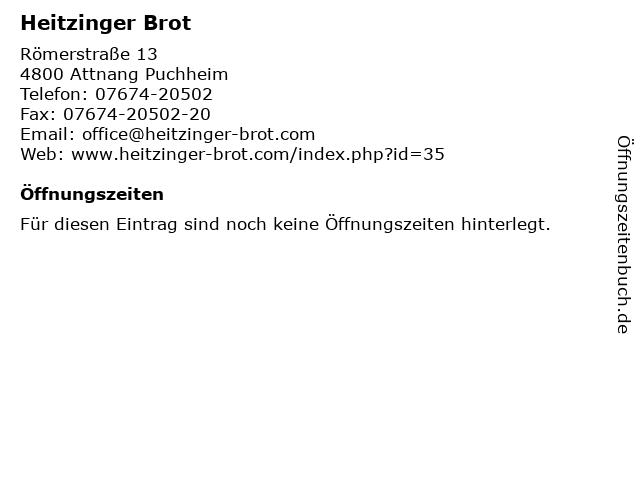 Heitzinger Brot in Attnang Puchheim: Adresse und Öffnungszeiten