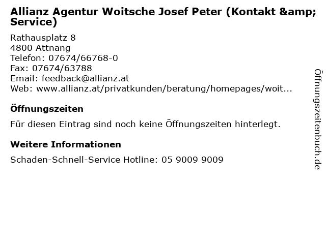 Allianz Agentur Woitsche Josef Peter (Kontakt & Service) in Attnang: Adresse und Öffnungszeiten