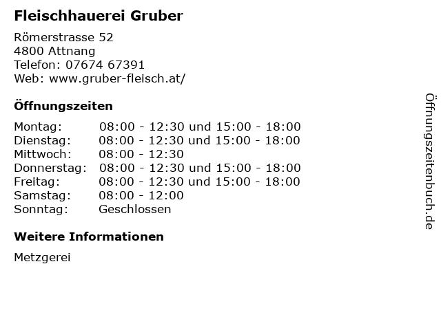 Fleischhauerei Gruber in Attnang: Adresse und Öffnungszeiten