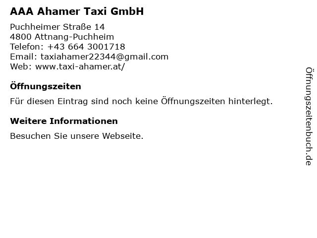 AAA Ahamer Taxi GmbH in Attnang-Puchheim: Adresse und Öffnungszeiten