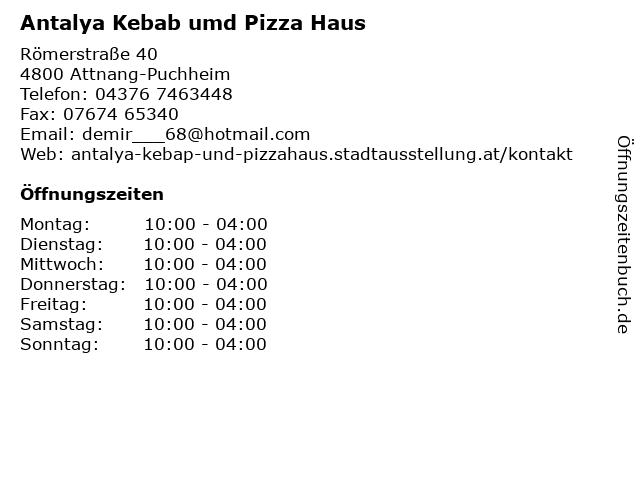 Antalya Kebab umd Pizza Haus in Attnang-Puchheim: Adresse und Öffnungszeiten