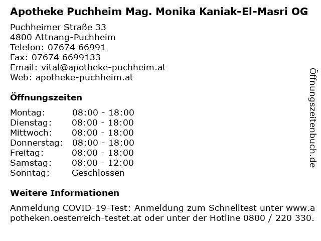 Apotheke Puchheim Mag. Monika Kaniak-El-Masri OG in Attnang-Puchheim: Adresse und Öffnungszeiten