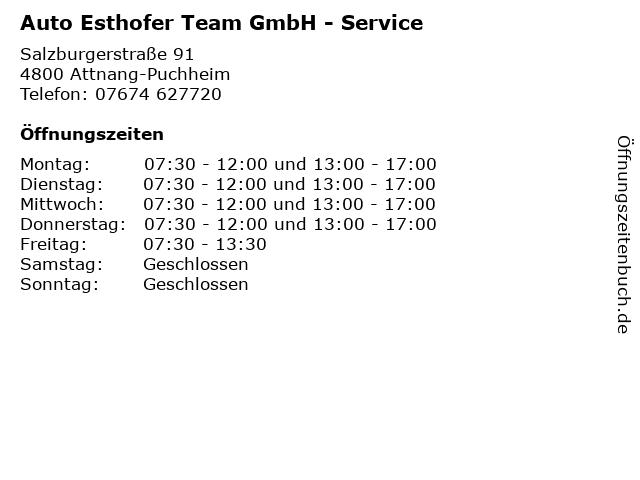 Auto Esthofer Team GmbH - Service in Attnang-Puchheim: Adresse und Öffnungszeiten