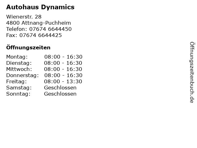 Autohaus Dynamics in Attnang-Puchheim: Adresse und Öffnungszeiten