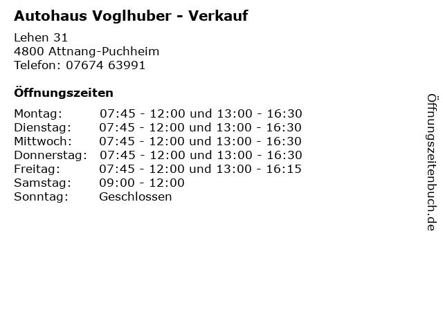 Autohaus Voglhuber - Verkauf in Attnang-Puchheim: Adresse und Öffnungszeiten