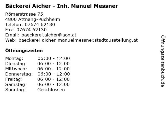 Bäckerei Aicher - Inh. Manuel Messner in Attnang-Puchheim: Adresse und Öffnungszeiten
