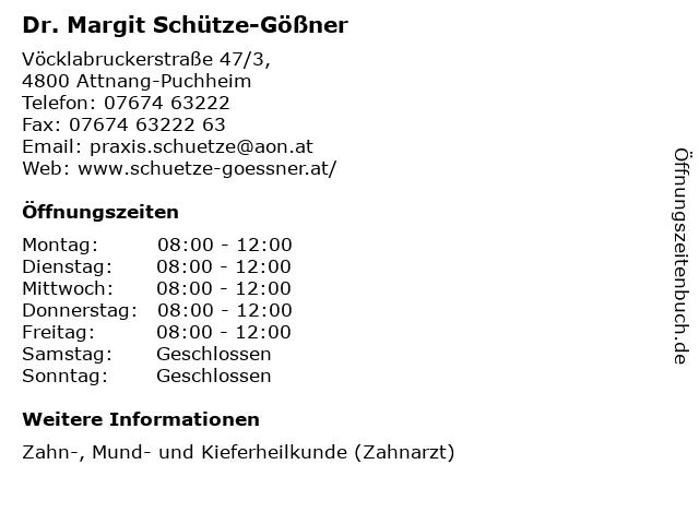 Dr. Margit Schütze-Gößner in Attnang-Puchheim: Adresse und Öffnungszeiten